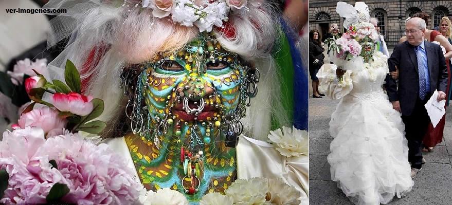 La mujer con mas piercings en el mundo se casa