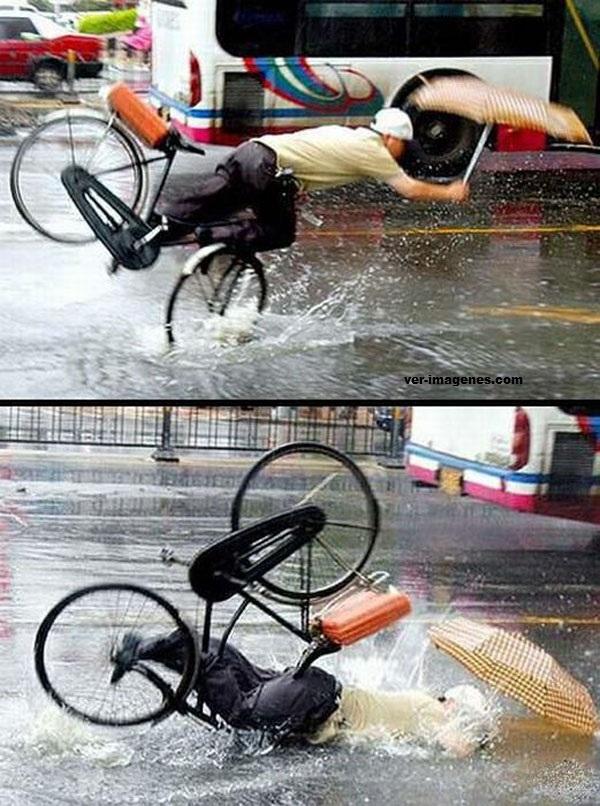 Bicicleta y paraguas