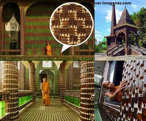 Conocé el templo budista hecho enteramente con botellas de cerveza recicladas