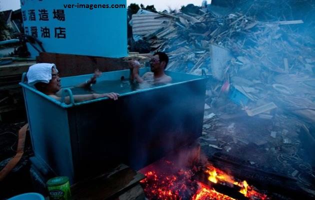 Tomando un baño de agua caliente