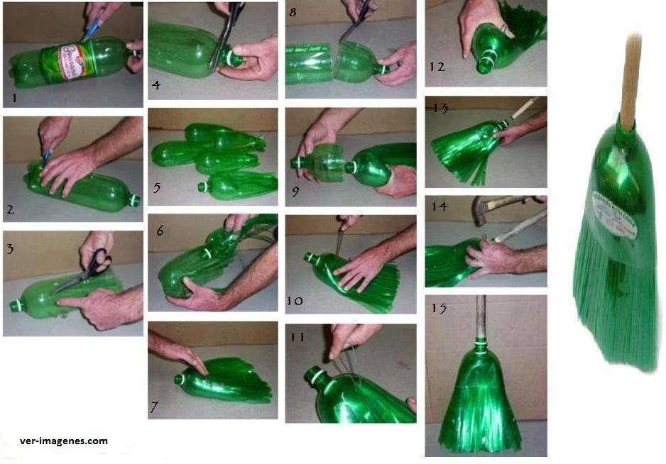 Escoba hecha con botellas de plastico