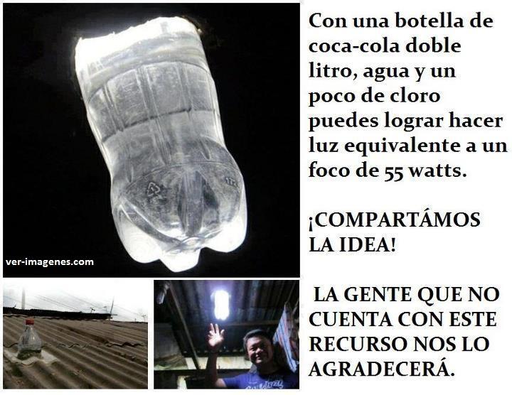 Lampara de 55W, sin electricidad, con botella de plastico y agua