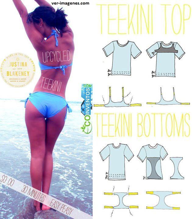 Como confeccionar un bikini con una camiseta