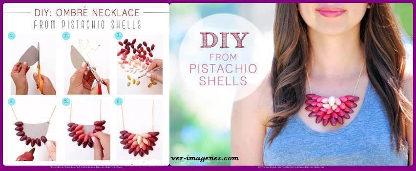 Collar realizado con cascaras de pistachos
