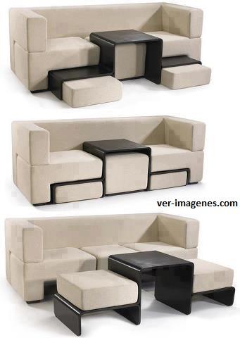 Sofa, mesa, sillones, tres en uno