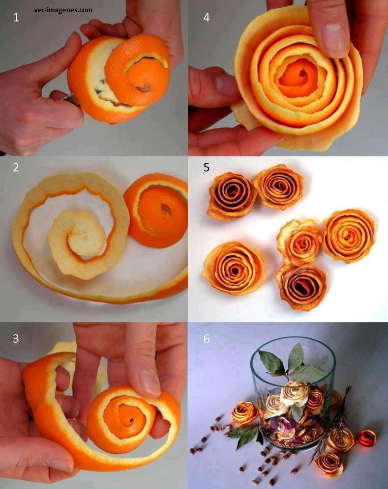 Rosas con cascara de naranja