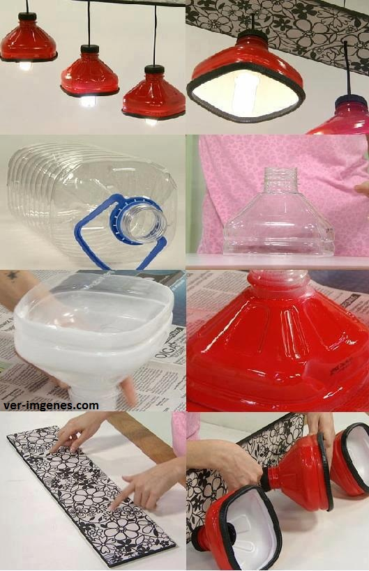 Imagen Lampara con botellas de agua