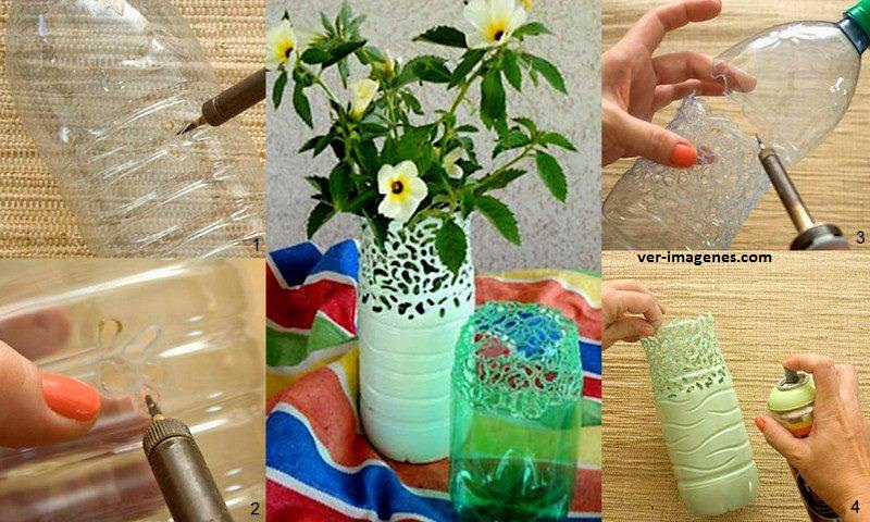 Imagenes de Con botellas Pet podemos realizar estos lindos jarrones Co