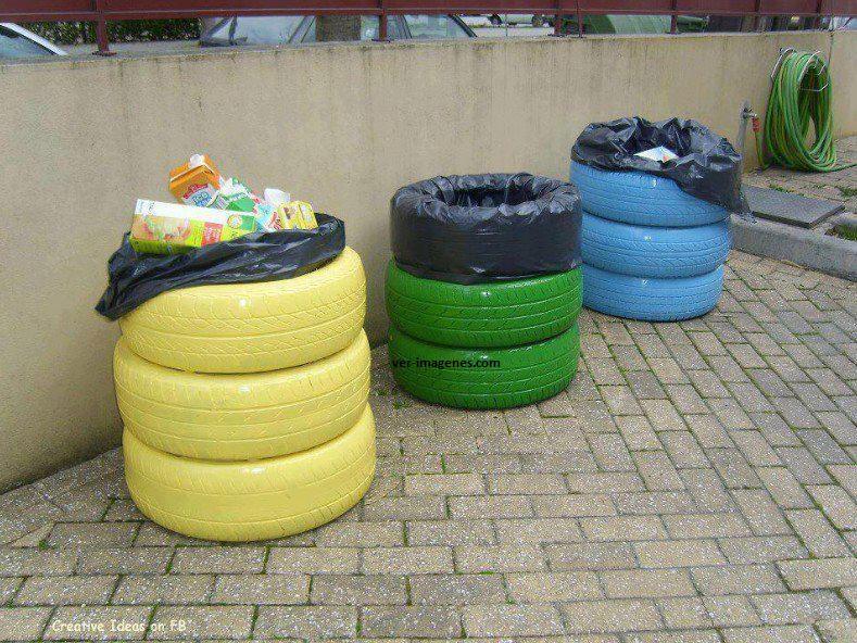 Cubos de basura reciclados