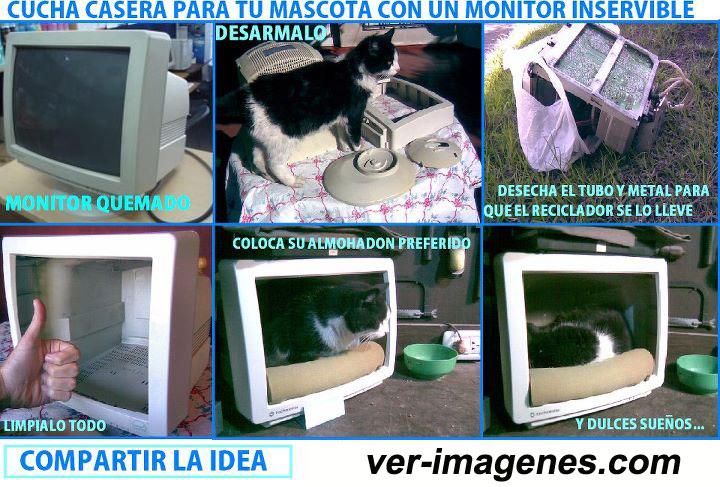 Imagen Cucha casera para tu mascota con un monitor inservible