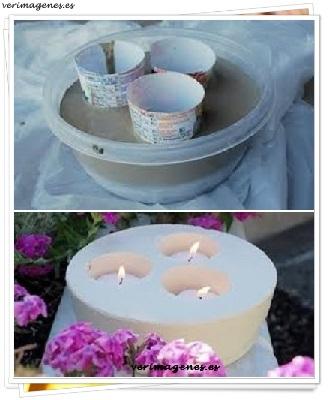 Practico porta velas de cemento para el jardín