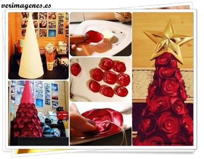 Arbolito de navidad realizado con rosas de tela