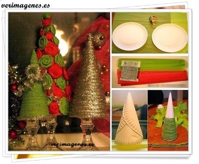 Arbolito de navidad con platos descartables y lana