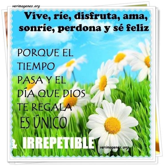 Vive, ríe, disfruta, ama, sonríe, perdona y sé feliz