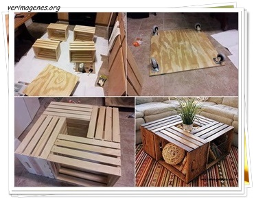 Mesa realizada con cajas de madera