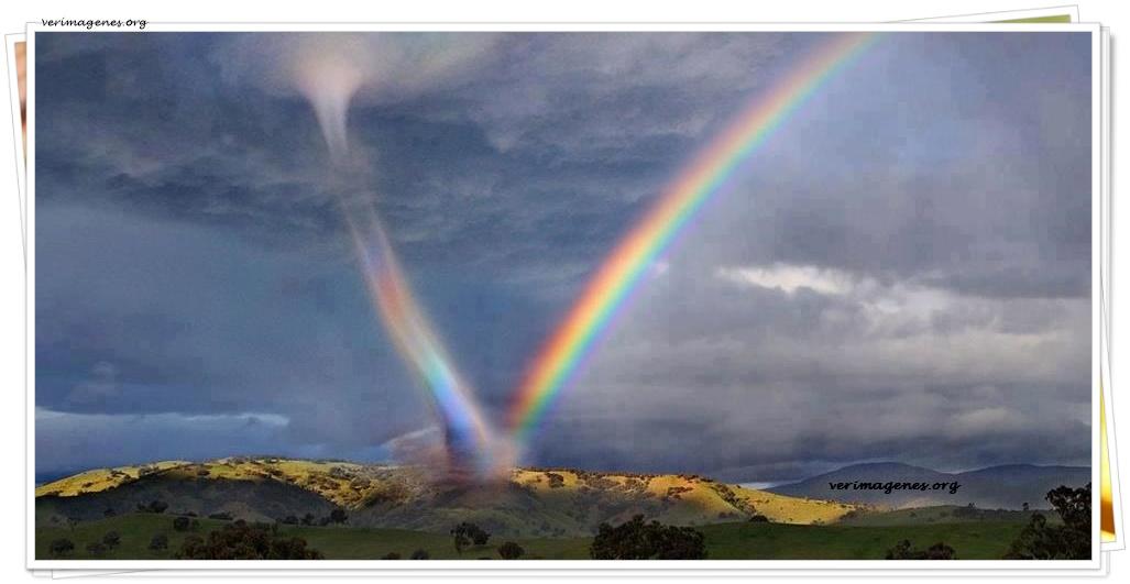 Encuentro de un tornado con un arco iris
